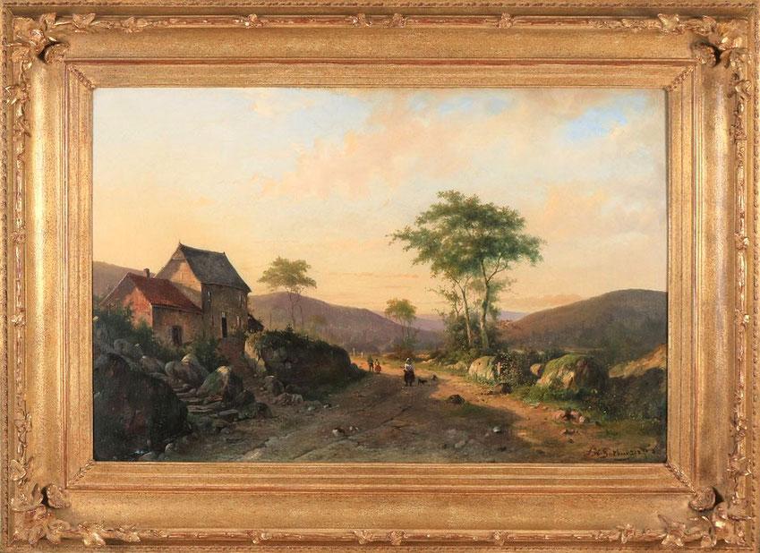 te_koop_aangeboden_een_schilderij_met_bergachtig_landschap_van_de_nederlandse_kunstschilder_alexander_hieronymus_bakhuijzen_II_1826-1878_hollandse_romantiek