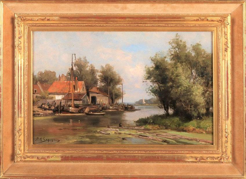 te_koop_aangeboden_een_landschaps_schilderij_van_de_nederlandse_kunstschilder_pieter_adrianus_schipperus_1840-1929_haagse_school