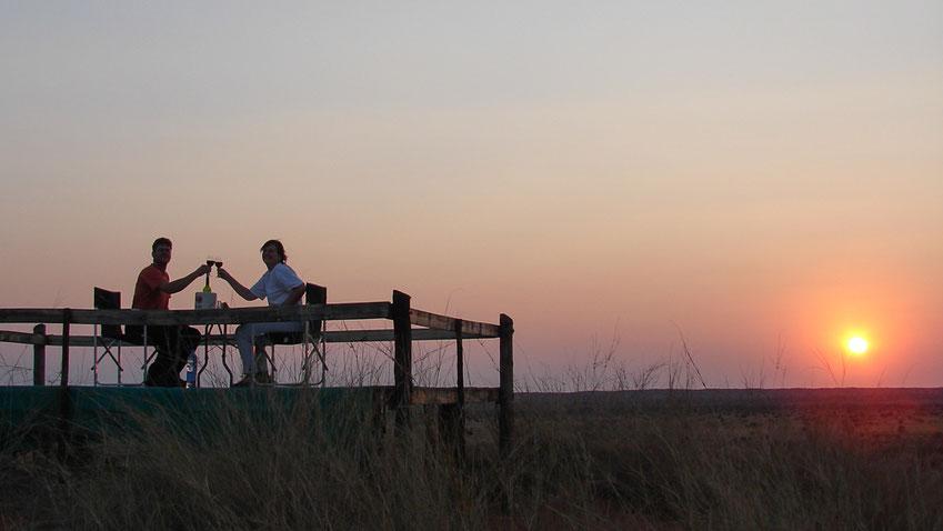 """Der erste """"Sundowner"""", wie man in Afrika sagt..."""
