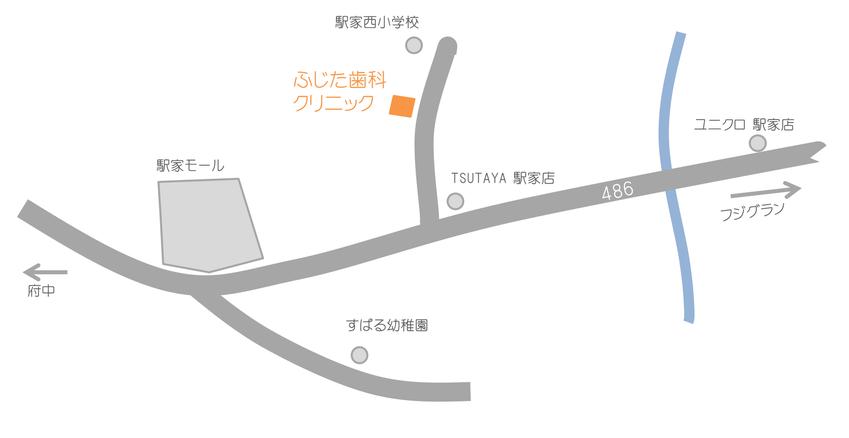 駅家・神辺・府中のかかりつけ歯科 ふじた歯科クリニック 地図