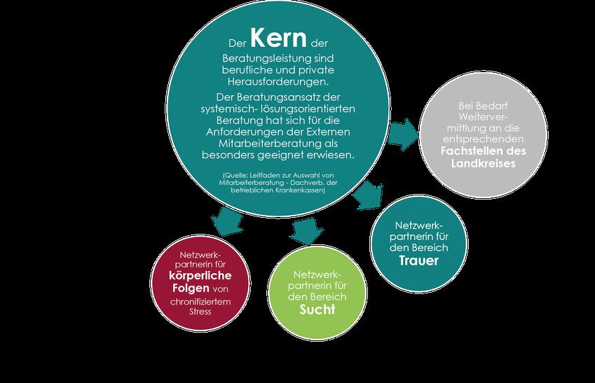 Hier erscheint eine Grafik über den Kern der Beratung und die Netzwerkpartnerinnen