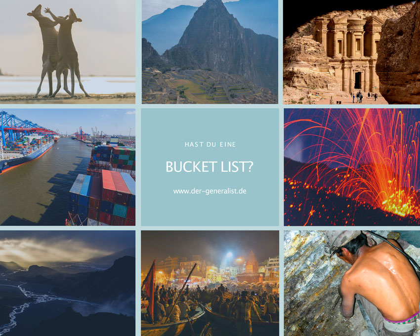 Fotocollage einer bucket list