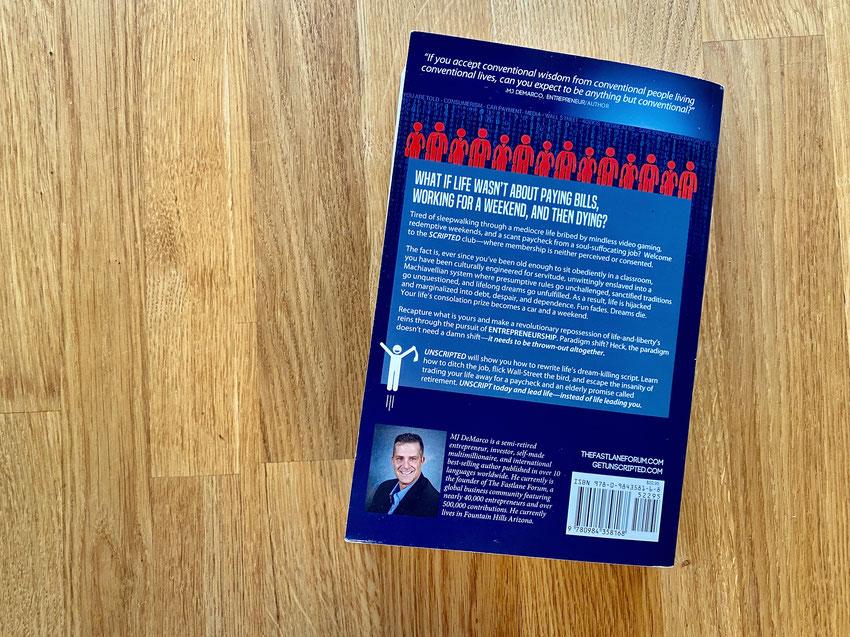 Rückseite des Buchs Unscripted von MJ DeMarco