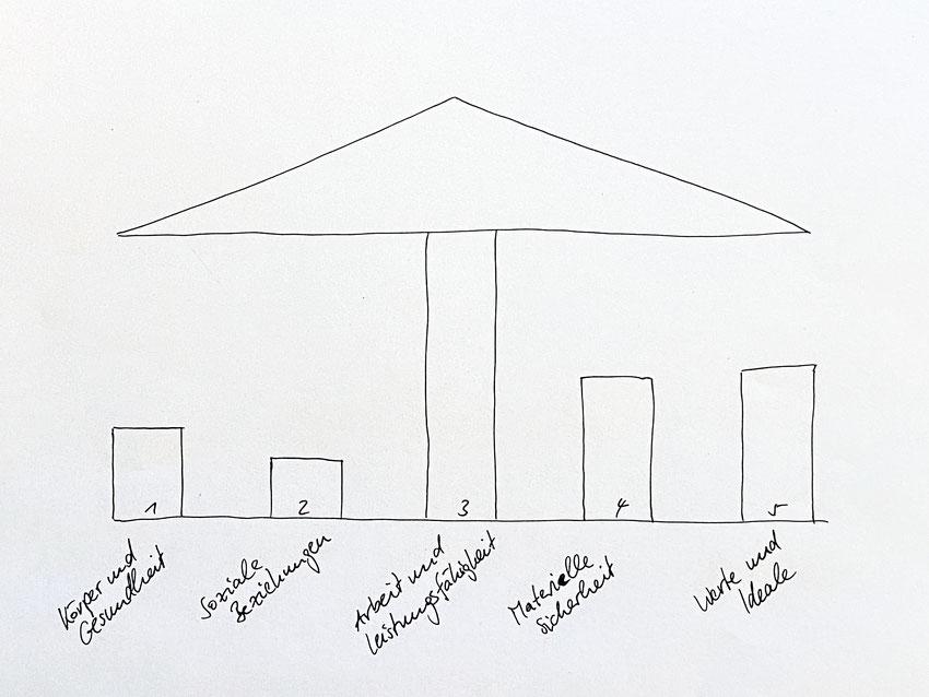 Graphik der fünf Säulen der Identität während eines Reformprojekts des Generalisten