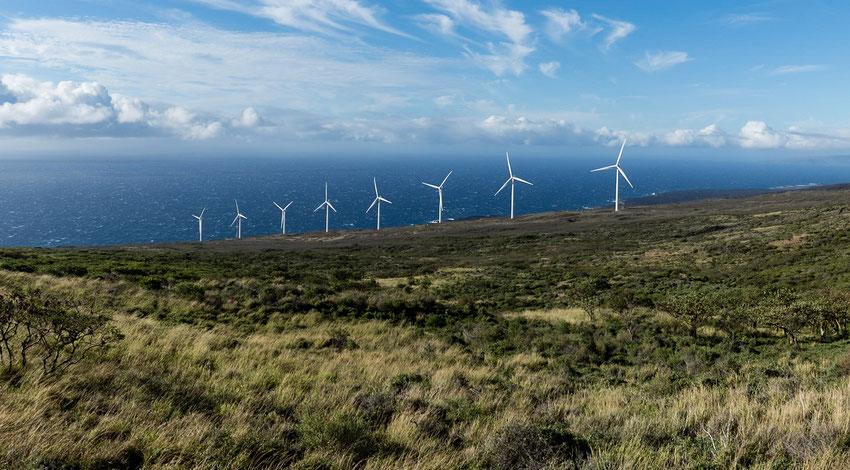 Windräder auf der Südseite von Maui, Hawai'i, USA