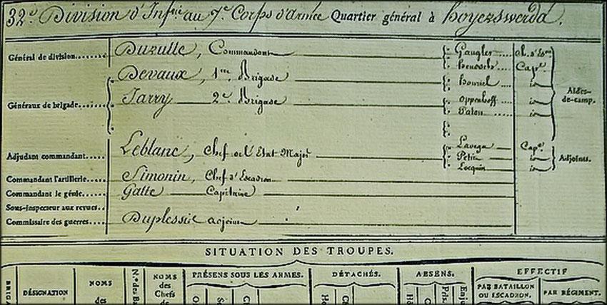 Etat major de la 32ème division d'infanterie ( SHD 2C 708, situation au 15 août 1813 )
