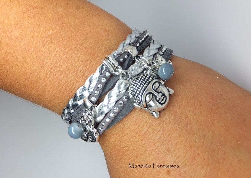 BOUDDHA - Bracelet manchette, bracelet deux tours, bracelet yoga, bracelet gris et argenté, bracelet argent, bracelet breloques, bracelet fait main