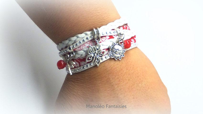 bracelet papillon manchette 2 tours rouge blanc argenté strass  libellule soleil