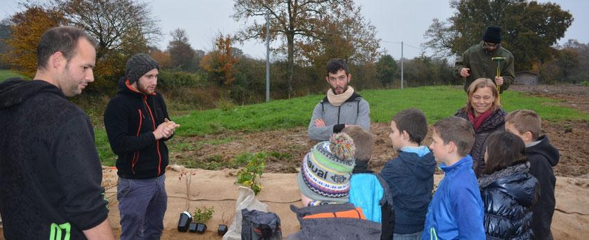 Atelier de plantation de la haie bocagère réalisé par l'association Les Potagers du Cormier et les Apprentis Buissonniers