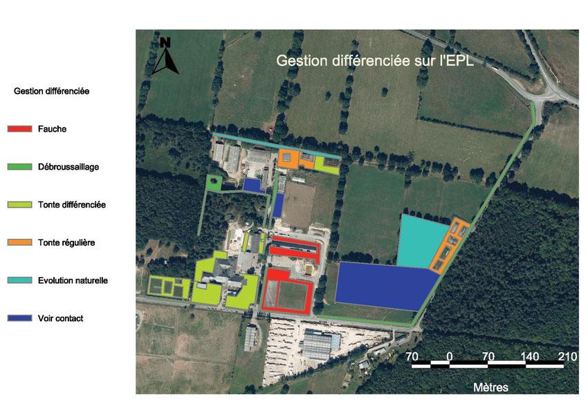 Carte de gestion différenciée des espaces paysagers de l'EPL (2012) - C. MOINET; N.PAILLAUD; B.POIRAULT; S.ROSSARD; M.SPAGNOL.