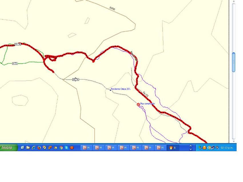 Y este es el track de Eduardo, que trepan por el nor-este y salen por la XX73. El track violeta es el de Pasión 4x4
