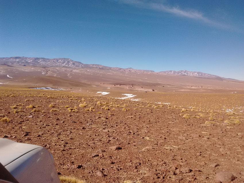 La ruta queda a un kilómetro, Pablo avanzó hacia el oeste encontrando un paso para seguir. Las camionetas van viniendo, son esos puntos pequeños en medio de la foto.