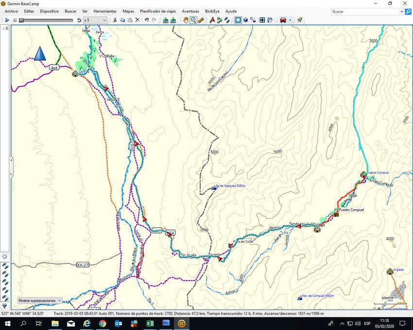El track violeta liso que sigue a Colifalla, era terreno seguro, y lo aprovechamos para darle muy buen ritmo a la marcha para llegar al Peñón con luz de día.