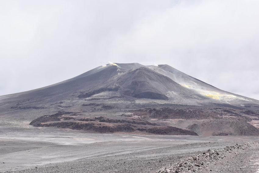 El imponente volcán Lastarria y sus fumarolas de azufre hirviente.