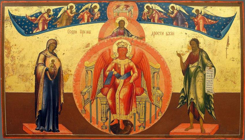 """Sophia-Ikone: """"Die Göttliche Weisheit"""". Russische Ikone um 1860."""