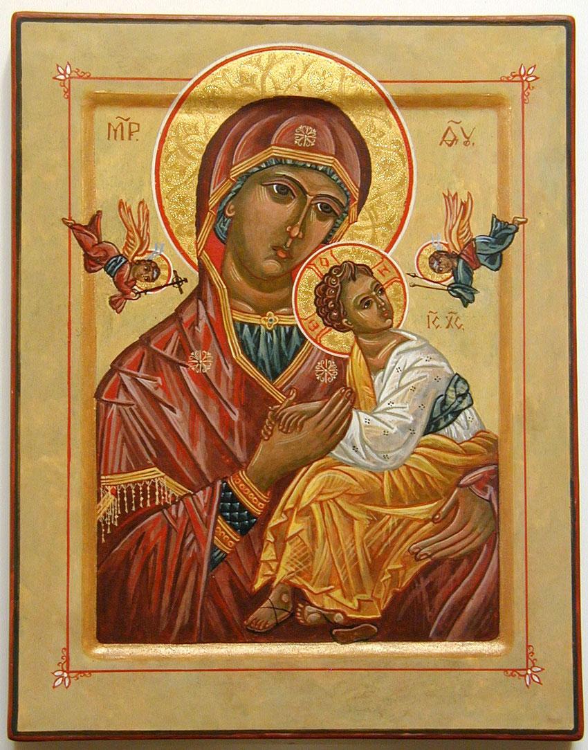 """Gottesmutter-Ikone """"Von der Passion"""", im Westen """"von der immerwährenden Hilfe"""" genannt."""