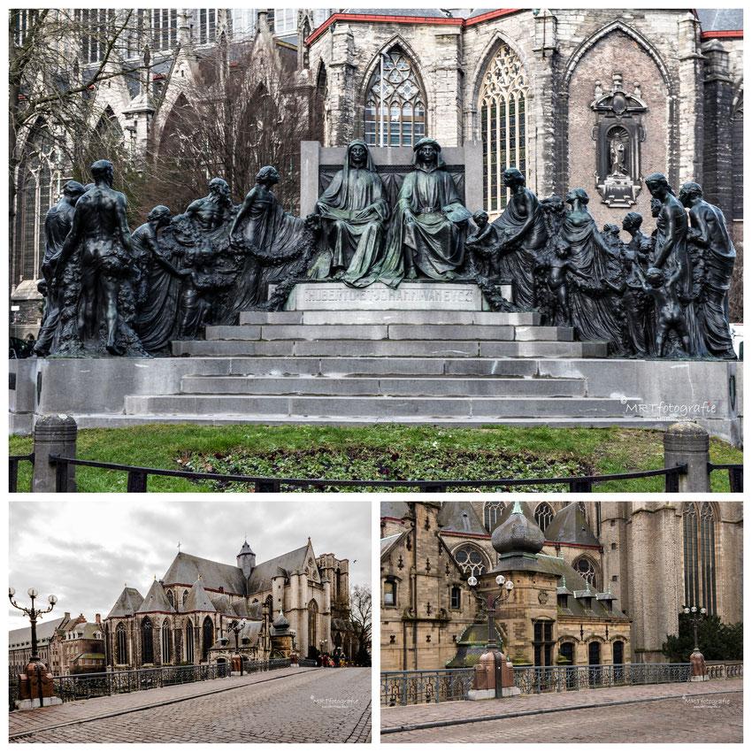Gent: Monument Hubert en Jan van Eyck en St. Michielskerk