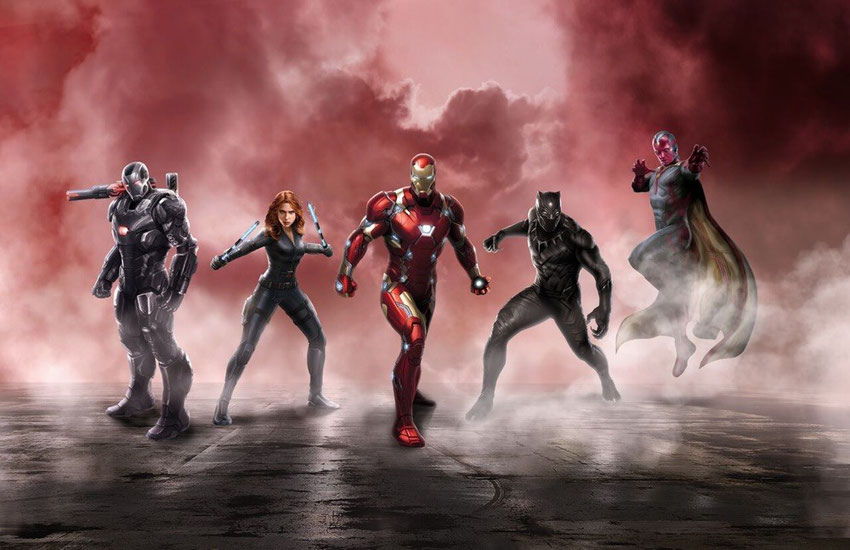 War Machine, Black Widow, Iron Man, Black Panther & Vision