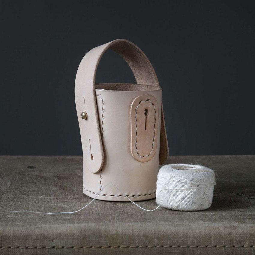 leather twin pot yarn dispenser