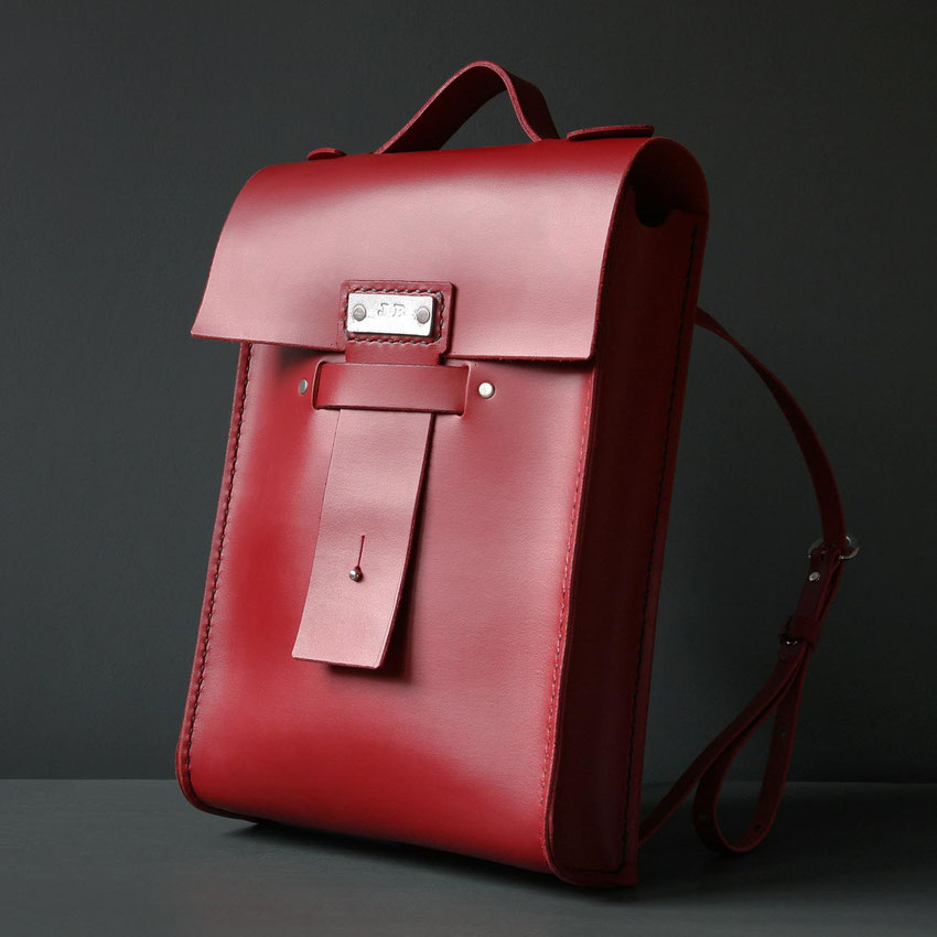 luxury leather backpack scarlet red saga