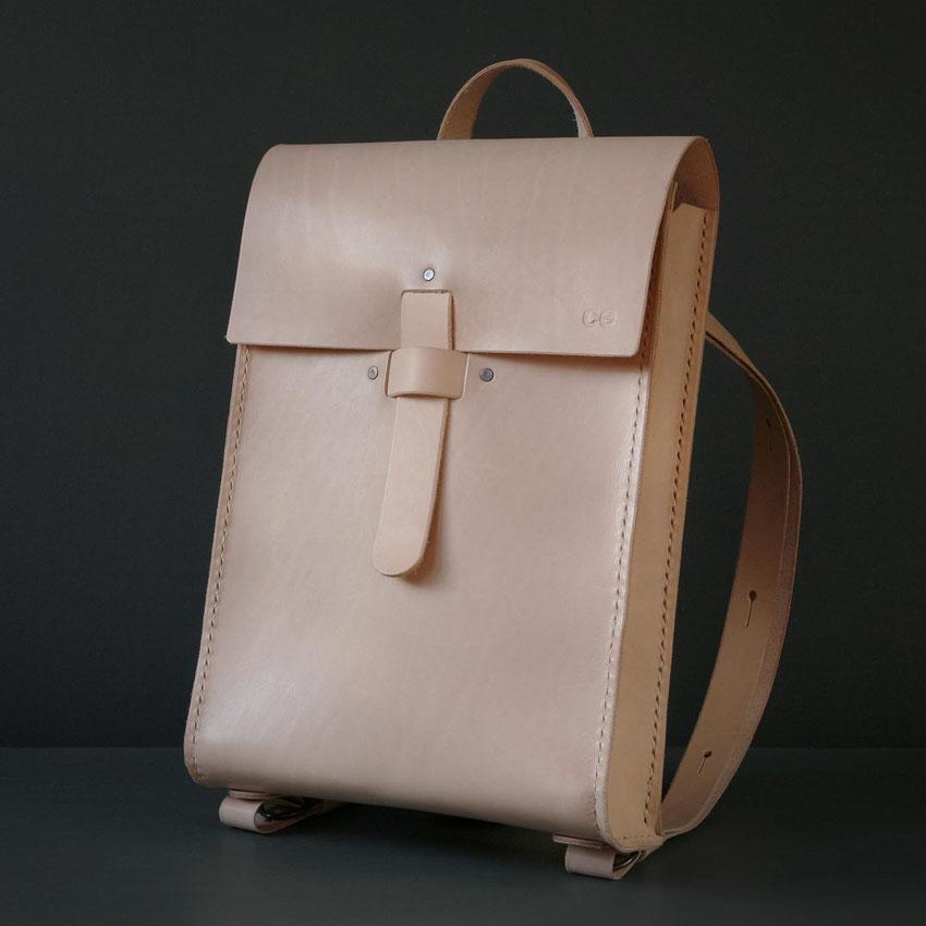 ladies leather backpack beige