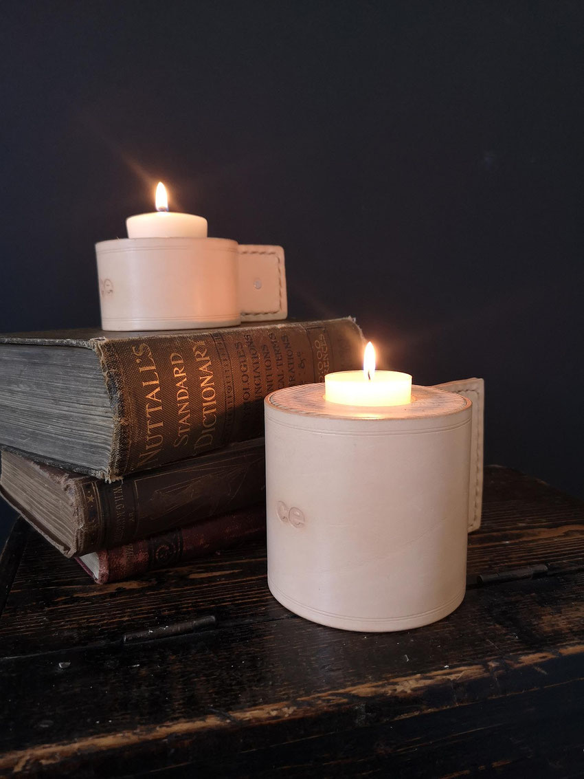 leather and wood candle holder