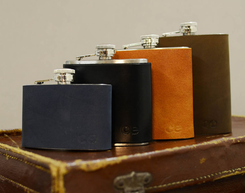 luxury leather covered mens traditional hip flask