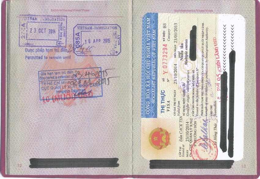 Passport with visa and extension