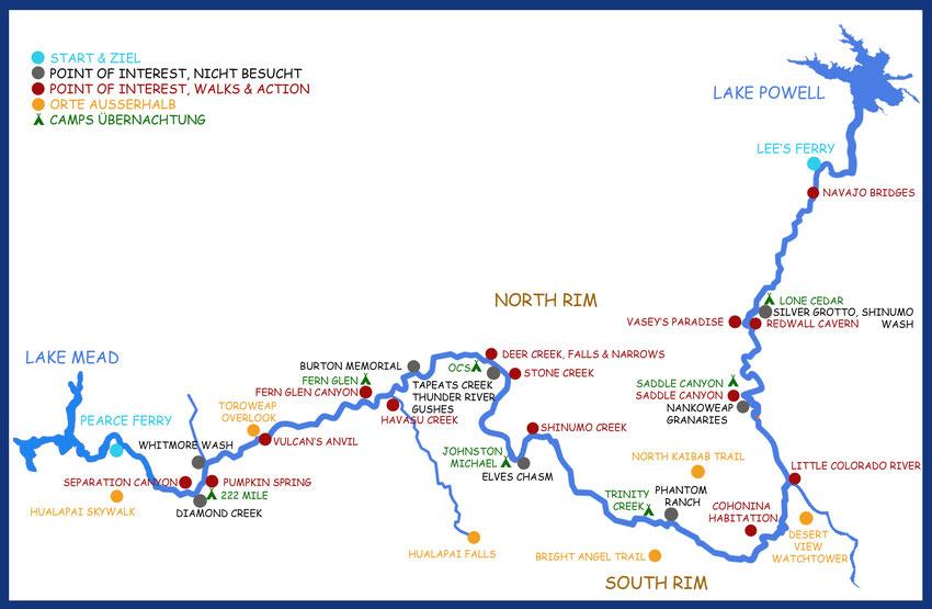übersichtskarte, map, river, rafting, riverrafting, grand, canyon, organisiert, infos, tipps, planung, usa, schlauchboot, motor,