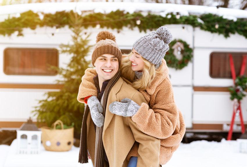 Wintercamping auf dem Campingplatz Wiesmoor / Ostfriesland.