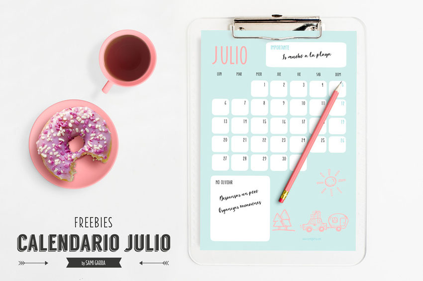 Freebies: calendario julio by Sami Garra
