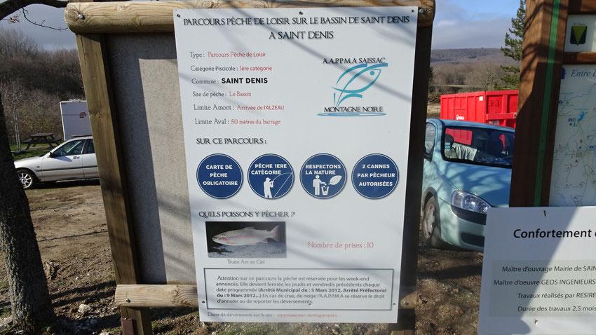 Parcours Pêche Loisir,panneau d'informations pour les pêcheurs