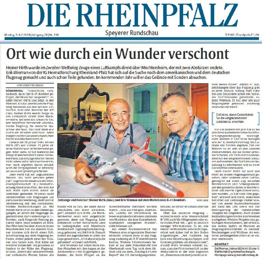 Rheinpfalz, 09.07.2018