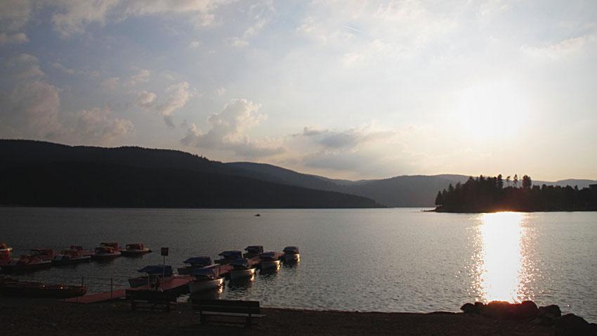 bigousteppes schuchsee lac forêt bateaux couché de soleil