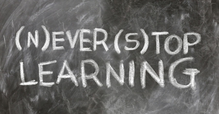 Tafel Schrift never stop learning