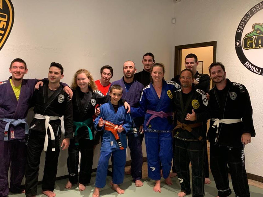 Large adult brazilian jiujitsu class at gator family bjj martial arts deland