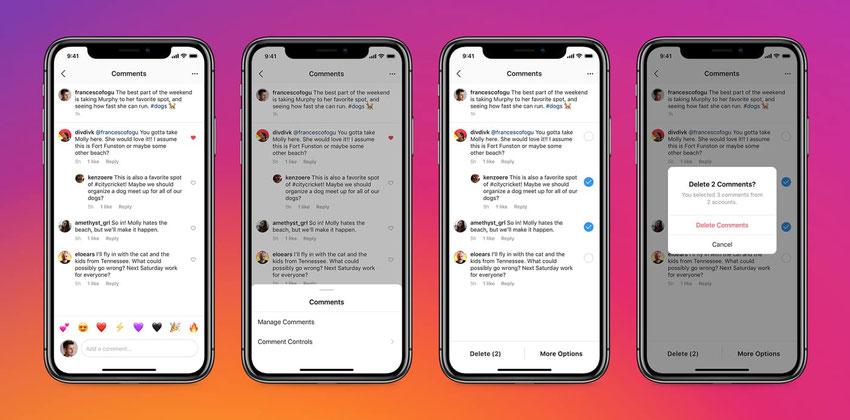 Eliminar hasta 25 comentarios a la vez en Instagram