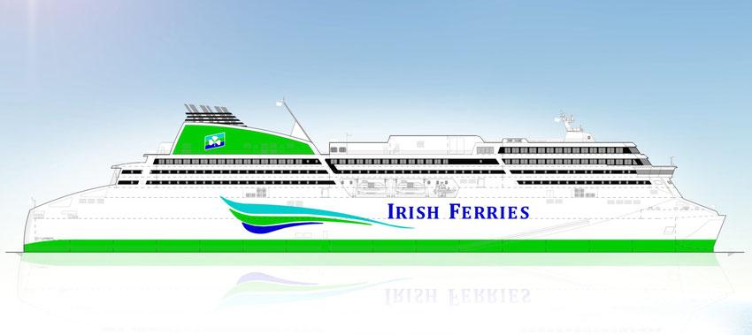 Vue d'artiste du futur navire de Irish Ferries, devant être mis en service en mai 2018.