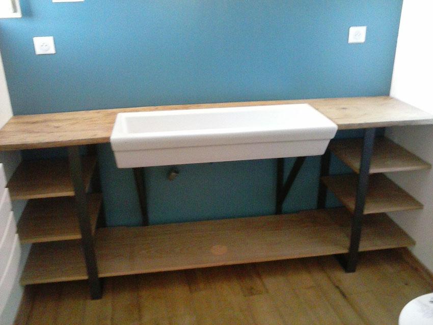 meuble de salle de bain sous vasque bois et métal sur mesure artisanal créateur création unique