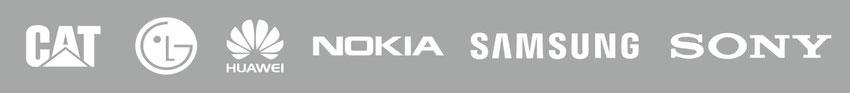 Alcatel, CAT, Emporia, HTC, Huawei, LG, Microsoft, Nokia, Samsung, Sony, Wiko, ZTE