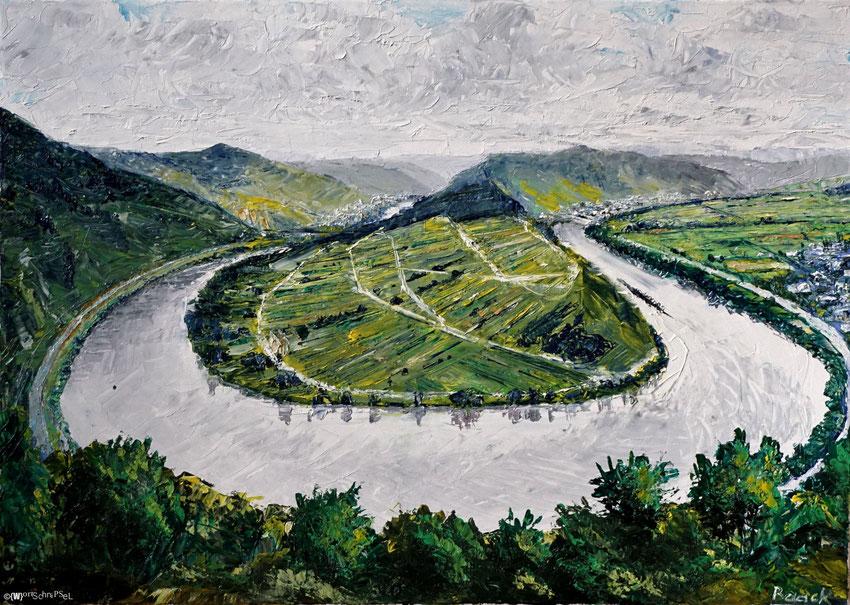 Mosel bei Bremm, Öl auf Leinwand (70 cm x 50 cm)