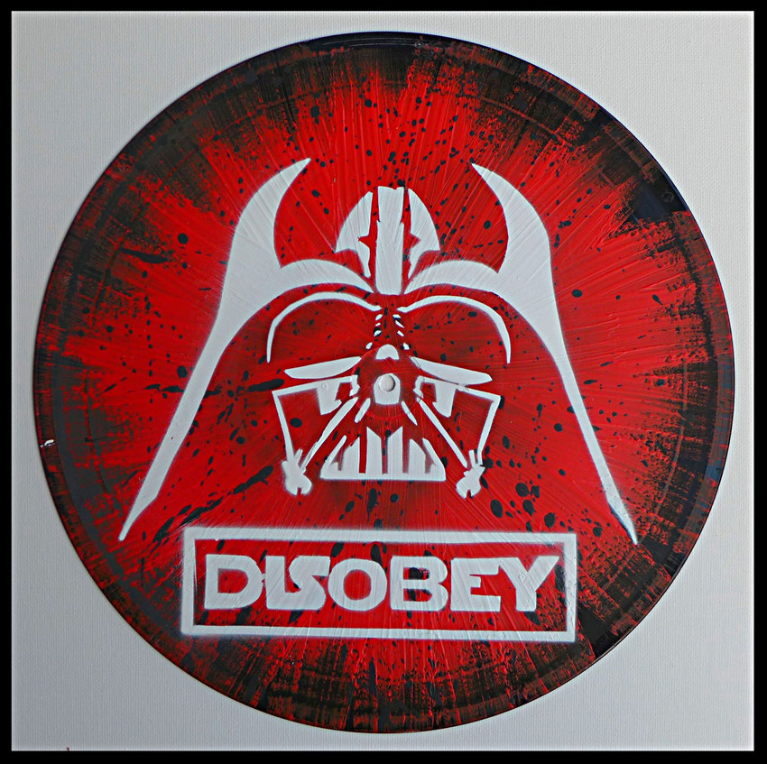 disque-vinyle-décoratif-street-art-Star-Wars-Dark-Vador-Disobey-Slave 2.0