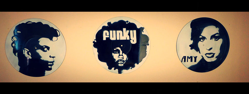 décoration street art vinyle triptyque prince amy winehouse funky
