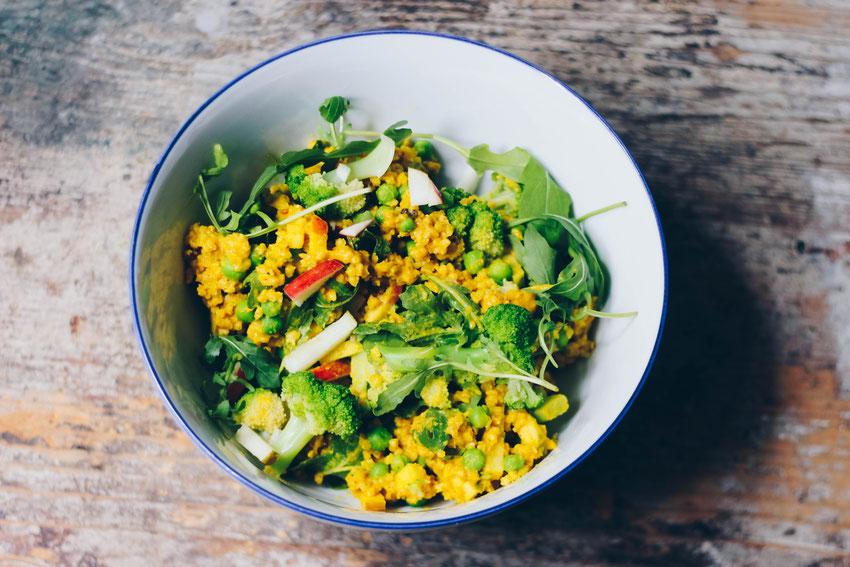 Lauwarmer Hirse Brokkoli Salat