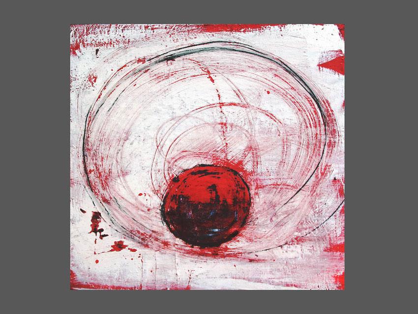 weißes rotes Bild - Yogatanz 80 x 80 cm verkäuflich