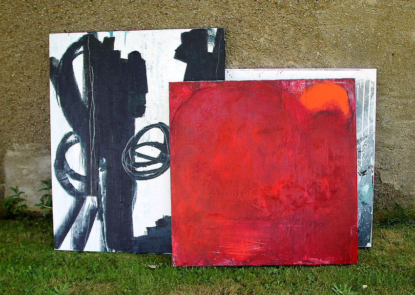 rotes Bild 80 x 80 cm - Sonne einfangen