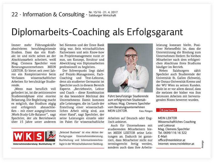 Salzburger Wirtschaft Presse Mein Lektor, SW 217