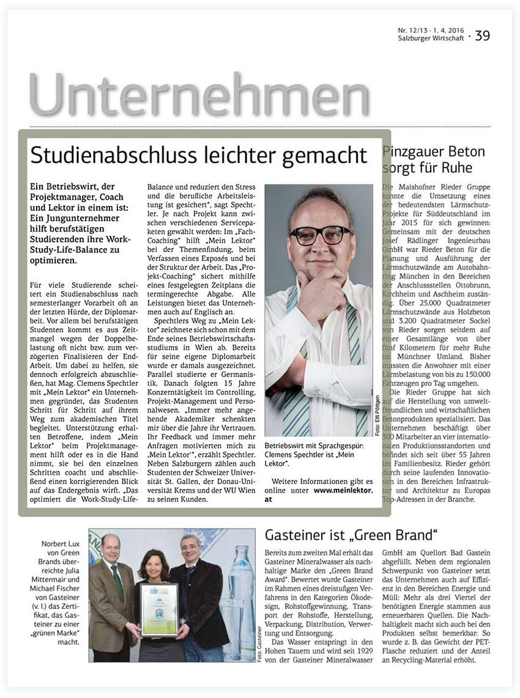 SALZBURGER WIRTSCHAFT Presse Mein Lektor