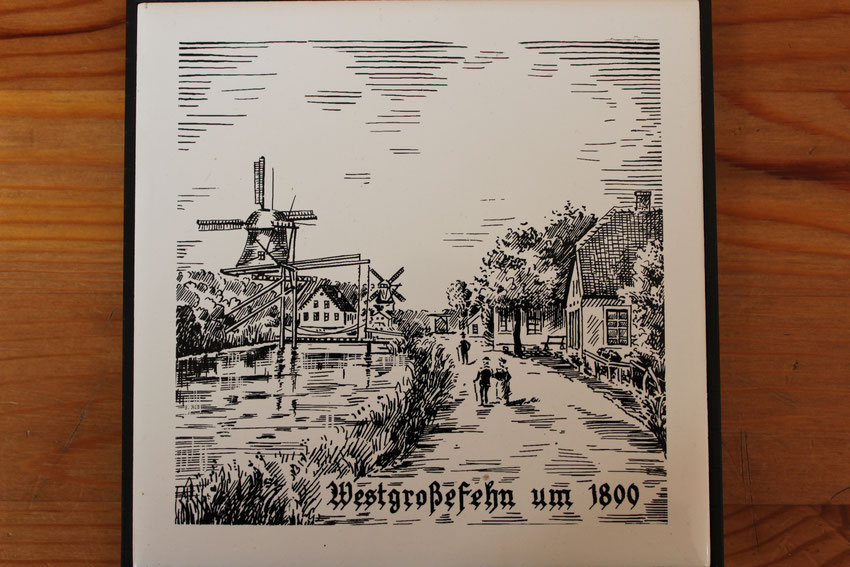 Westgroßefehn / Ansicht  um 1800 / Bild Gebhard Siefken / Fliesen von Theda Hartmann