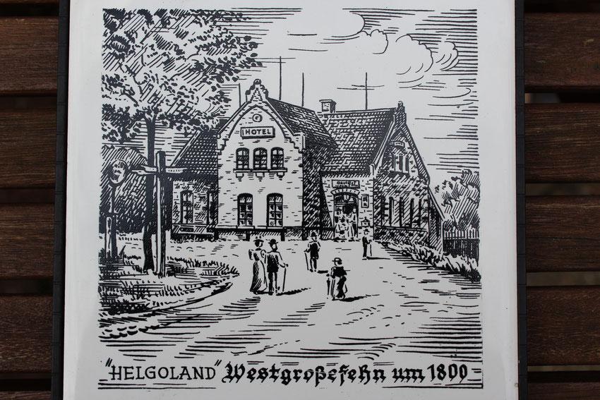 Hotel Helgoland in Westgroßefehn / Ansicht  um 1800 / Bild Gebhard Siefken / Fliesen von Theda Hartmann